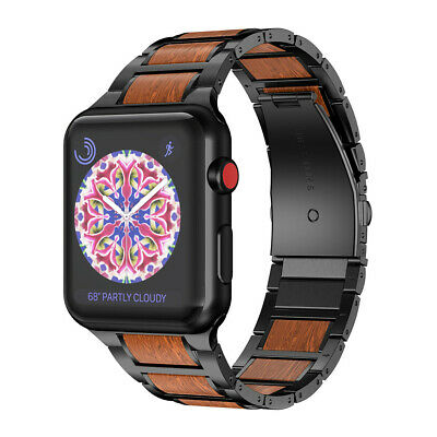 $ CDN43.95 • Buy Stainless Steel+Wood Bracelet Band Strap For Apple Watch Series 1/2 3 4 CA