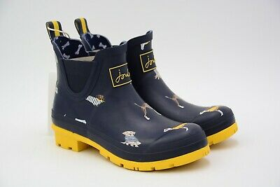 Joules Womens Wellibob Short Rain Boot Navy Harbour Dog Size US 6 M EU 37 Used • 34.95$