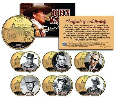 $19.95 • Buy JOHN WAYNE MOVIES Iowa Quarters US 6-Coin Set * LICENSED * Stagecoach