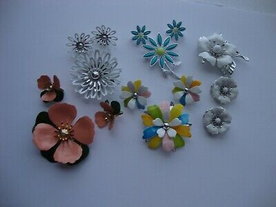 5 Vtg. Metal Flower Pin & Earring Sets Sarah Coventry Mint Condition Never Used  • 19.99$