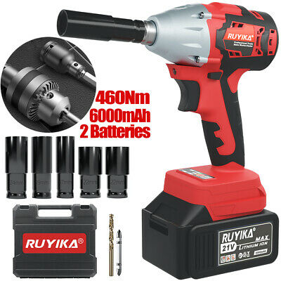 "View Details 460Nm Cordless Impact Wrench 21V 12.0A Socket Set 1/2"" Drive Ratchet 2 Batteries • 79.99£"