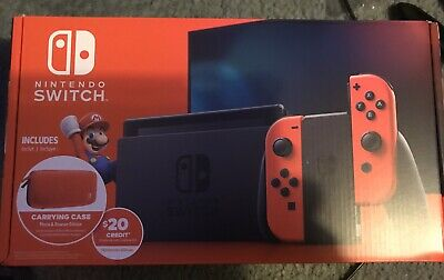 Nintendo Switch Red Bundle Mario & Bowser Carrying Case And $20 E Shop • 310$