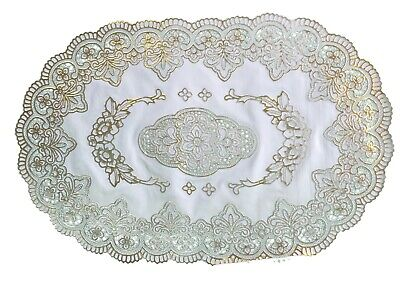 Gold Oval Lace Effect Table Place Mats Home Christmas Weddings Table Decor Uk • 2.79£