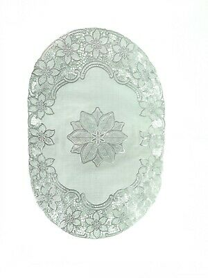 Silver Oval Lace Effect Table Place Mats Home Christmas Weddings Table Decor • 2.89£