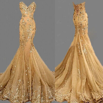 £84.98 • Buy Mermaid Gold Evening Dresses Long Beaded Sequins Party Prom Pageant Formal Gown