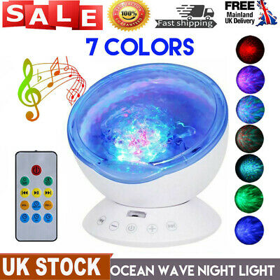 Ocean Wave Music LED Night Light Projector Remote Lamp Sleep Relaxing Gift Music • 15.69£