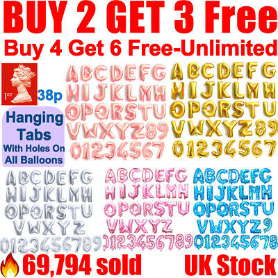 Gold Silver Rose 16  A-Z Letter Balloons Number Foil Balloon NAME PARTY WEDDING • 1.09£