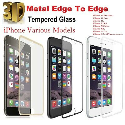 £2.29 • Buy For IPhone 8 Screen Protector 3D Curved Edge To Edge Tempered Glass Metal Edge