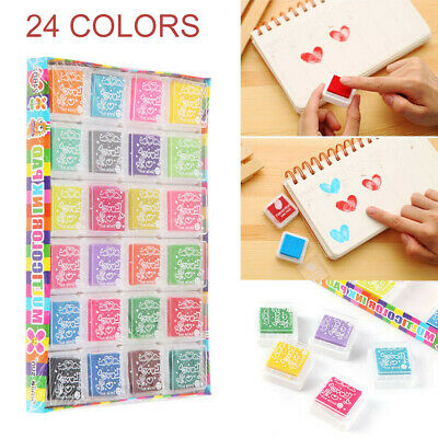 24 Colors Rubber Stamps Pigment Ink Pads For Paper Wood Fabric Paint Craft Set • 4.49£
