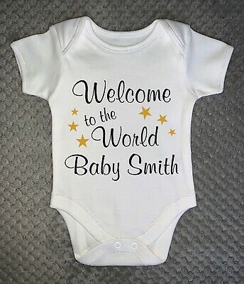 £6.99 • Buy PERSONALISED BABY GROW - Welcome To The World Baby Vest Clothing Gift ANY NAME