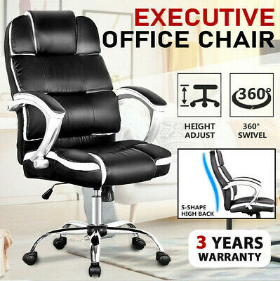 AU109.90 • Buy High Back Office Chair PU Leather Executive Recliner Computer Gaming Chairs Seat