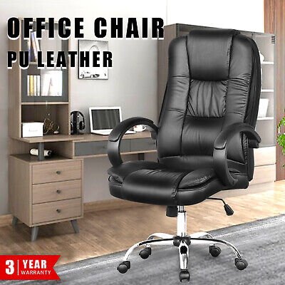 AU129.90 • Buy Executive Office Chair PU Leather High Back Computer Gaming Chairs Recliner