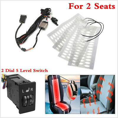 $ CDN55.45 • Buy 4pc Universal Carbon Fiber Car Heater Heated Seat Pads 2 Dial 5-Level Switch Kit