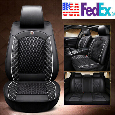 $101.27 • Buy Black PU Leather Car Seat Covers Front & Rear Full Set For 5-Seats Car SUV Truck