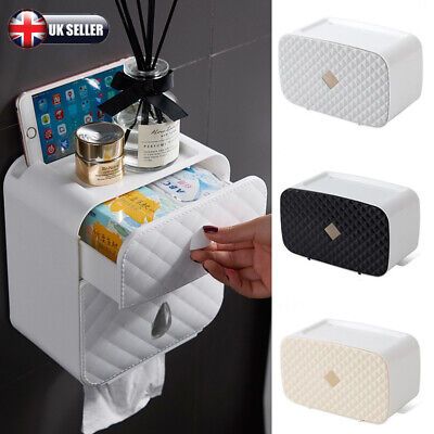 Bathroom Waterproof Wall Mounted Tissue Toilet Paper Roll Holder Storage Box • 7.10£