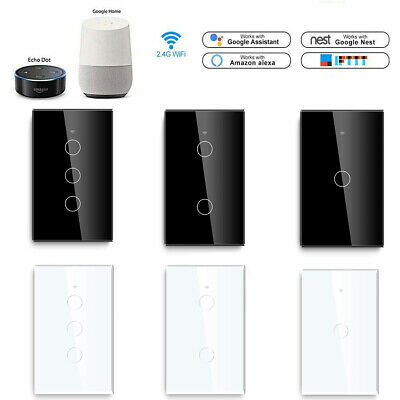 AU18.39 • Buy 1/2/3 WiFi Gang Smart Home Touch Light Wall Switch Panel For Alexa/Google Home