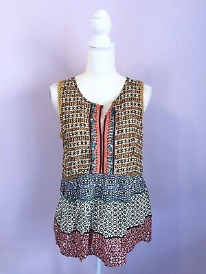$ CDN29.16 • Buy Anthropologie Size Medium Ranna Gill Patterned Embroidered Tank Multi Color Top
