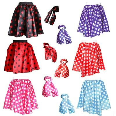 £6.42 • Buy POLKA DOT SKIRT & SCARF 1950s Womens Night Out Hen Do Party Costume Fancy Dress
