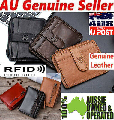 AU16.95 • Buy Men's Women Genuine Leather Wallet RFID Protection Id Card Coin Money Bag Holder