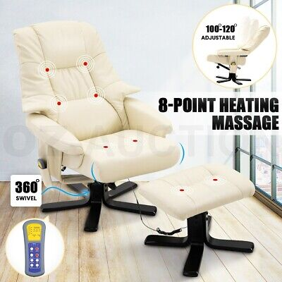 AU269.95 • Buy Massage Recliner Chair PU Leather Full Body 8-Point Heated Office Chair Beige