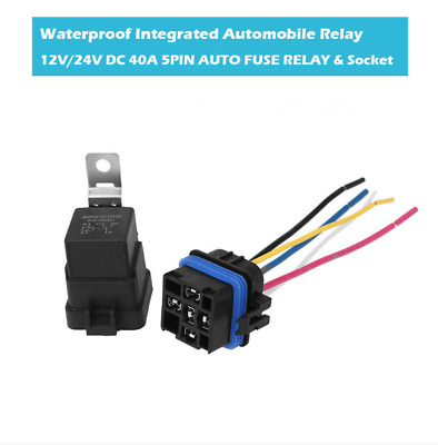 $ CDN10.20 • Buy CarContinuousWaterproof Integrated Auto Relay W/Socket 40A 12V DC 5 Pin SPDT
