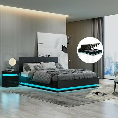 AU369.95 • Buy New Bed Frame Queen PU Leather Gas Lift Storage Furniture With LED Light Black