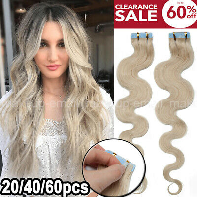 New 100% Russian Remy Tape In Human Hair Extensions 20/40/60pcs Curly Thick MEM • 34.53£
