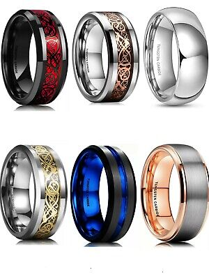 $12.99 • Buy Tungsten Carbide Ring Comfort Fit Wedding Band Men Women Assorted Styles 8MM