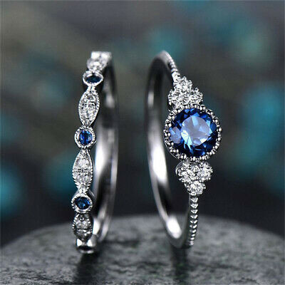 AU1.98 • Buy 2Pcs Fashion Silver Round Cut Sapphire Rings Women Wedding Jewelry Size 6-10