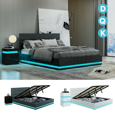 AU179.95 • Buy LED Lighting Bed Frame Bedside Tables Bed Base Platform Black/White D Q K Size