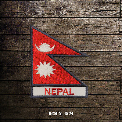 NEPAL Flag With Name Embroidered Iron On Sew On Patch Badge For Clothes Etc • 2.09£
