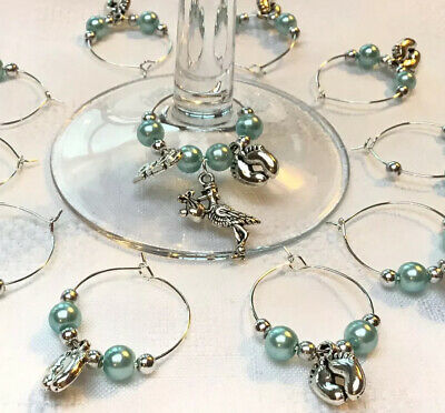 £7.40 • Buy 20+1 Baby Shower Wine Glass Charms 2021 Christening Keepsake Reveal Favours Blue