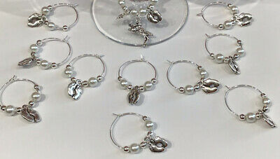 £7.40 • Buy 20+1 Baby Shower Wine Glass Charms 2021 Christening Favours Keepsakes Gift White