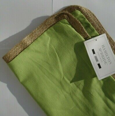 Lovely Simple Design NATURAL JUTE / Rope Edged Lime Green 17  Cushion Covers • 3.99£