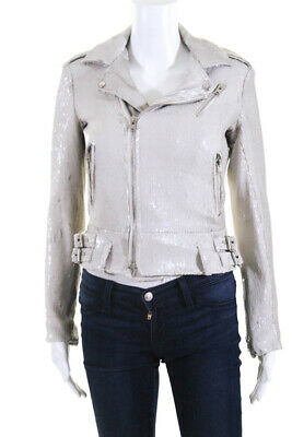 $ CDN198.47 • Buy IRO Womens Long Sleeve Collared Motorcycle Jacket White Sequin Size FR 34 S