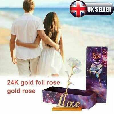 Galaxy Rose Romantic Crystal Flower Valentine's Day Lovers Rose With Gift Box UK • 6.49£