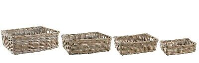 Rectangular Grey & Buff Rattan Wicker Storage Baskets • 20£