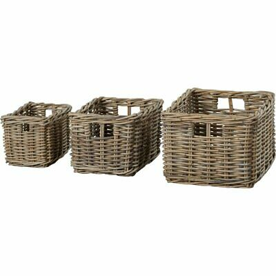 Grey And Buff Rectangular Deep Wicker Storage Basket • 24.99£
