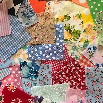Fabric Square Scraps.30 Piece Offcuts.bundle Of Mixed  Polycotton Material  • 2.99£