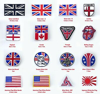 Union Jack Collection Badges Iron Or Sew On Embroidered Patches • 1.99£