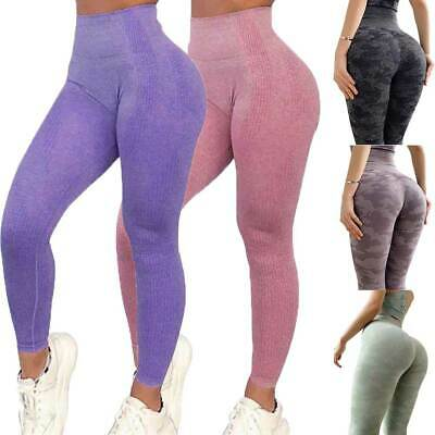 Womens Gym Seamless Fitness Leggings High Waist Training Sport Yoga Pants Solid • 14.88£