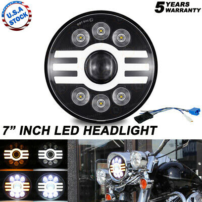 AU44.48 • Buy DOT 7  Inch Motorcycle Headlight Round LED Projector For Harley Cafe Racer