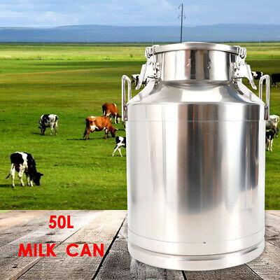 $114 • Buy 50L Stainless Steel Milk Can Wine Pail Bucket Milk Jug Oil Barrel Canister Large