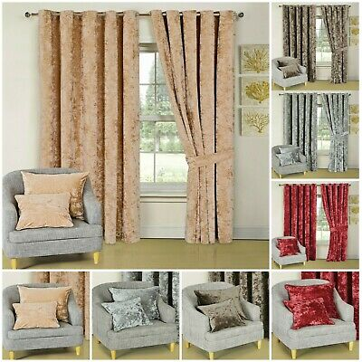 £40.75 • Buy Crushed Velvet Curtains Ring Top Eyelet  Luxury Heavy Fully Lined Ready Made