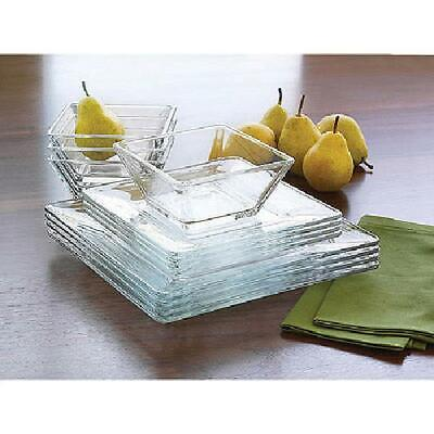 $38.57 • Buy 12-Piece Square Clear Glass Dinnerware Dining Set, Dinner Meal Glassware, NEW