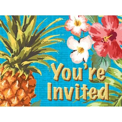 Aloha 8 Invitations With Envelopes Summer Luau Party • 3.69£