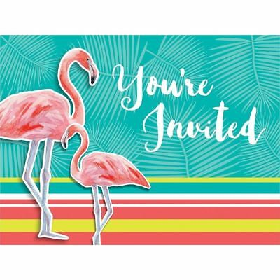 Island Oasis 8 Invitations With Envelopes Summer Luau Party Flamingos • 4.37£