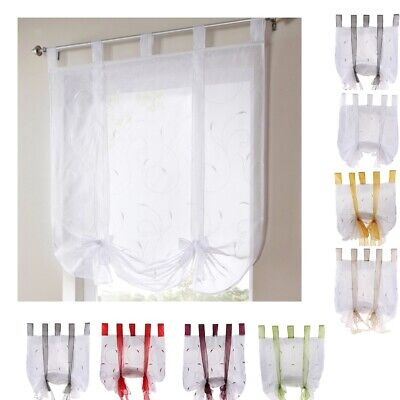 Embroidery Roman Curtains Sheer Voile Window Shade Blinds ( Tap Top Panel) -PICK • 9.97£