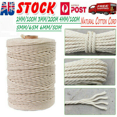 AU12.88 • Buy 3mm 4mmx100m Natural Cotton Cord Twine Braided Rope Cord Hand Craft Macrame DIY