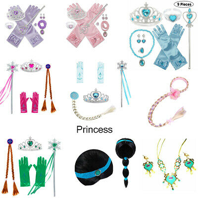 5pc Princess Belle Jasmine Wig Dress Up Accessories Girls Gloves Tiara Crown Set • 5.49£